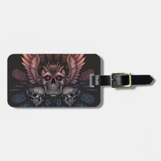 Robot Skull + Wings Luggage Tag