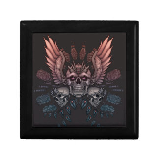 Robot Skull + Wings Small Square Gift Box