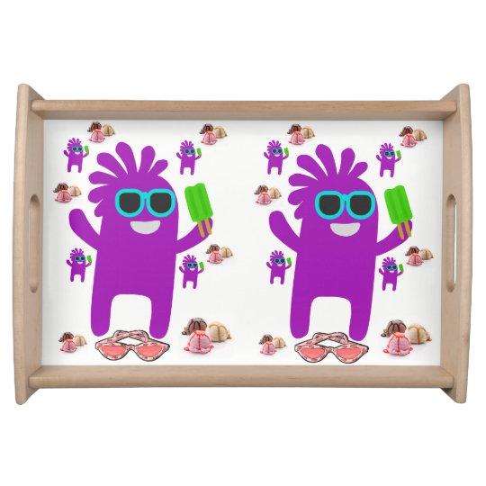 robot sunglass white purple serving tray