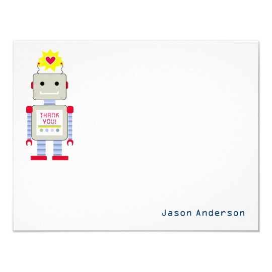 Robot Thank You Note Cards Personal Stationery 11 Cm X 14 Cm Invitation Card