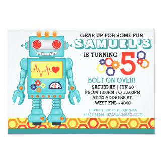 Robot Theme Party Invitation