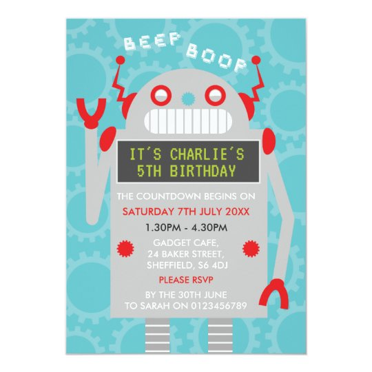 Robot themed birthday party invitation