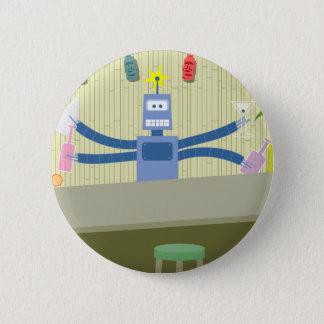 Robot Tiki Bar Bartender 6 Cm Round Badge