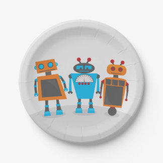 Robot Trio Party 7 Inch Paper Plate