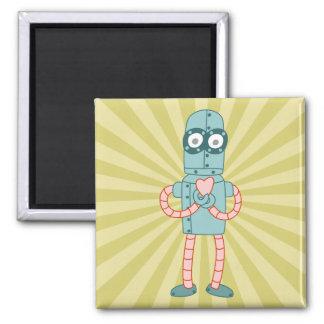 Robot Valentine Heart Square Magnet