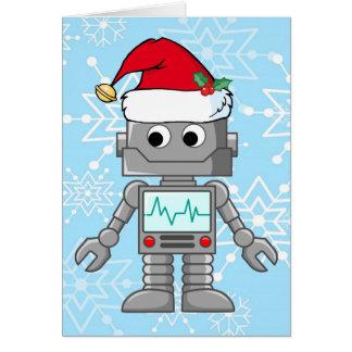Robot Wearing Santa Hat Card