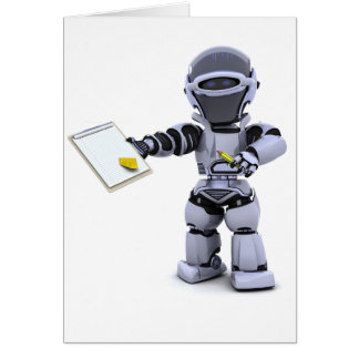 Robot With A Clipboard Greeting Cards