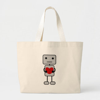 Robot with Heart Large Tote Bag