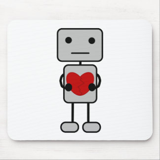 Robot with Heart Mouse Mat
