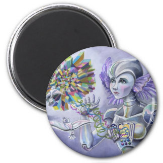 Robot Woman with a Starlike Love- Crystal Heart 6 Cm Round Magnet
