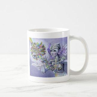 Robot Woman with a Starlike Love- Crystal Heart Basic White Mug