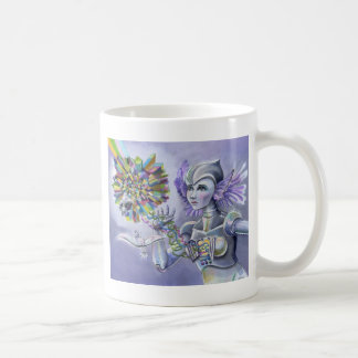 Robot Woman with a Starlike Love- Crystal Heart Coffee Mug