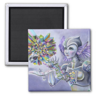 Robot Woman with a Starlike Love- Crystal Heart Square Magnet