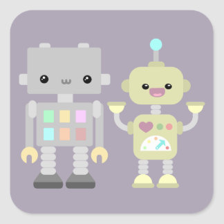 Robots At Play Square Sticker