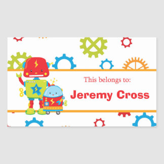 Robots Back to School Personalized Labels Rectangular Sticker
