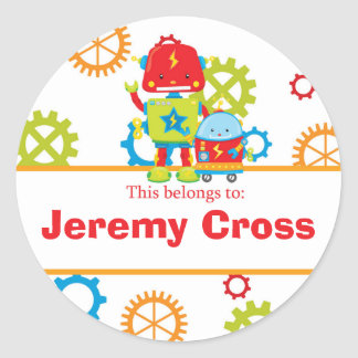 Robots Back to School Personalized Round Stickers