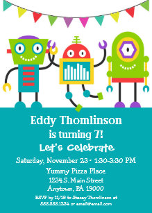 Robots Birthday Invitation Boys Colourful Robot
