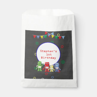 Robots Birthday party favor bags personalized