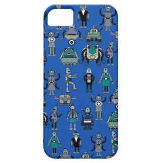 Robots! Geek Vintage Retro Robots on Blue iPhone 5 Cases
