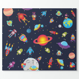 Robots in Outer Space (Med. Images) Wrapping Paper