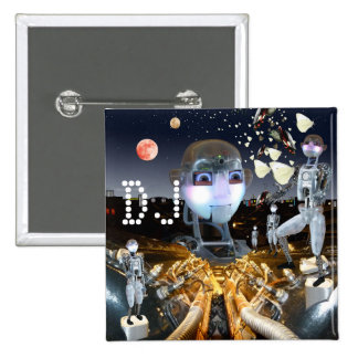 Robots in space pinback buttons