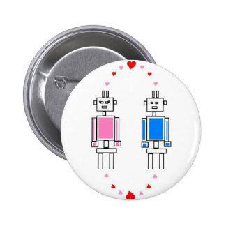 Robots Love 6 Cm Round Badge