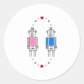 Robots Love Classic Round Sticker