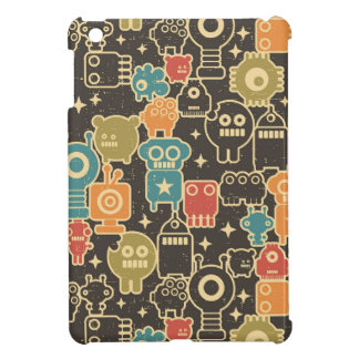 Robots on brown case for the iPad mini