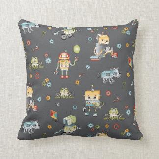 Robots Play Kids Bedding Coordinate. Throw Cushion