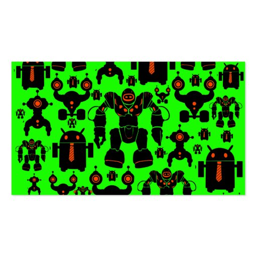Robots Rule Fun Robot Silhouettes Lime Green Business Card Templates