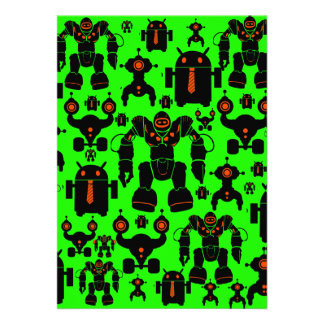 Robots Rule Fun Robot Silhouettes Lime Green Custom Announcement