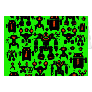 Robots Rule Fun Robot Silhouettes Lime Green Note Card