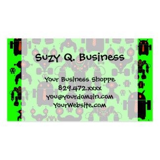 Robots Rule Fun Robot Silhouettes Lime Green Pack Of Standard Business Cards