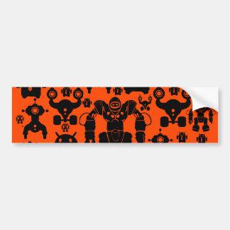 Robots Rule Fun Robot Silhouettes Orange Robotics Bumper Stickers