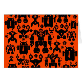 Robots Rule Fun Robot Silhouettes Orange Robotics Card