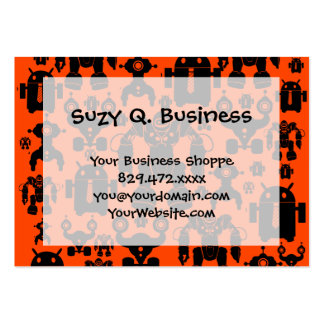 Robots Rule Fun Robot Silhouettes Orange Robotics Pack Of Chubby Business Cards
