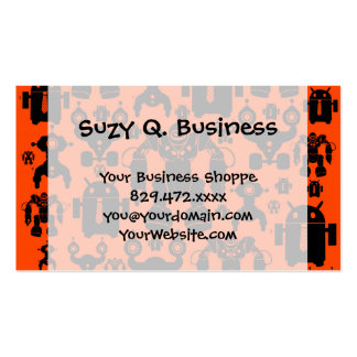 Robots Rule Fun Robot Silhouettes Orange Robotics Pack Of Standard Business Cards