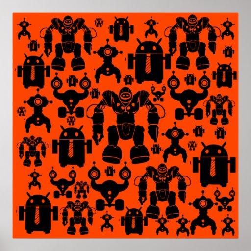 Robots Rule Fun Robot Silhouettes Orange Robotics Posters