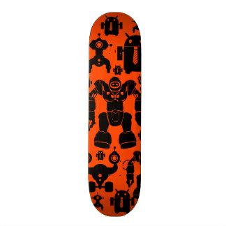 Robots Rule Fun Robot Silhouettes Orange Robotics Skate Board