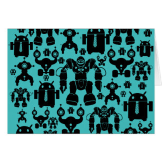 Robots Rule Fun Robot Silhouettes Pattern Blue Note Card