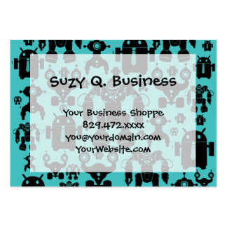 Robots Rule Fun Robot Silhouettes Pattern Blue Pack Of Chubby Business Cards