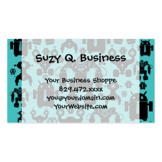 Robots Rule Fun Robot Silhouettes Pattern Blue Pack Of Standard Business Cards