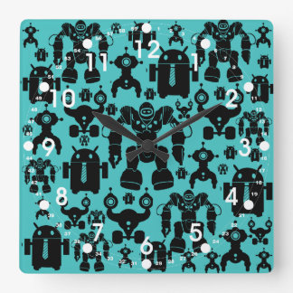 Robots Rule Fun Robot Silhouettes Pattern Blue Square Wall Clock
