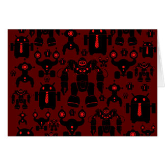 Robots Rule Fun Robot Silhouettes Red Robotics Note Card