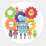 Robots Rule Round Sticker