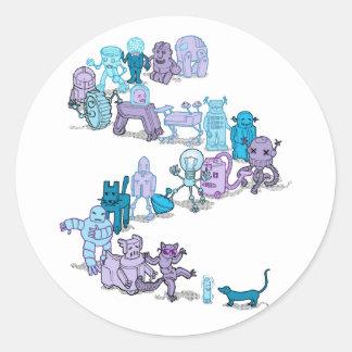 Robots Round Stickers
