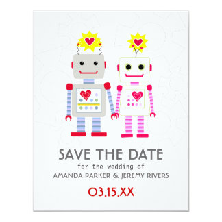 Robots Wedding Save The Date Card