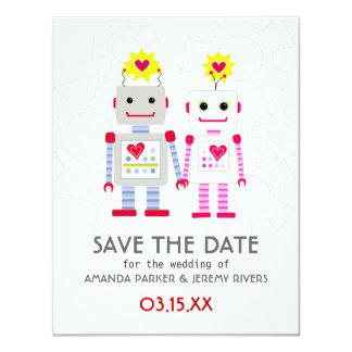 Robots Wedding Save The Date Card 11 Cm X 14 Cm Invitation Card