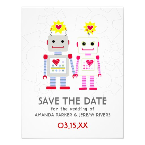 Robots Wedding Save The Date Card Personalized Announcements