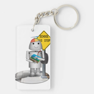Robox9 at The Bus Stop - Back To School Double-Sided Rectangular Acrylic Key Ring